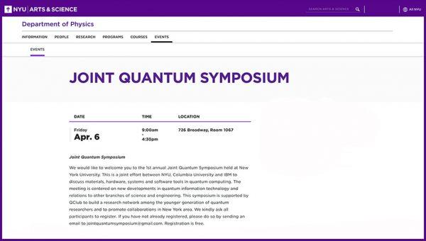NYU Joint Quantum Symposium